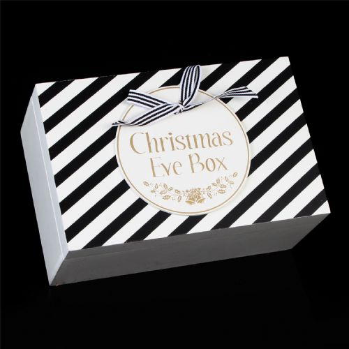 Christmas Eve Box - Wooden 'Christmas Eve' Gift box Black White Gold